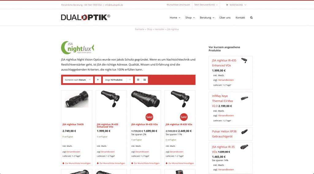 Vorherbild der Landingpage von Nightlux