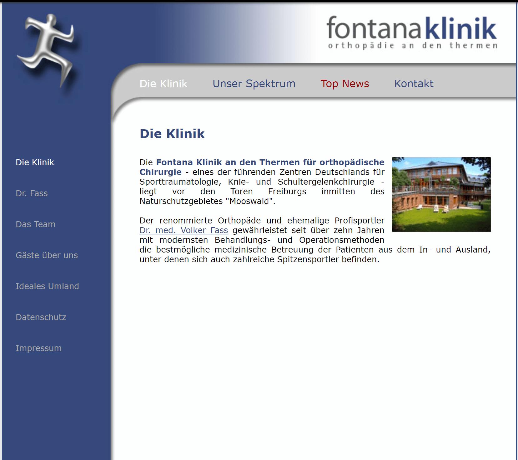 Alte Startseite der Fontana Klinik