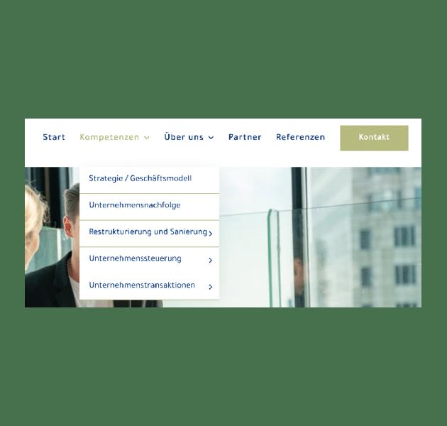 Aufbau Menü MS Consulting