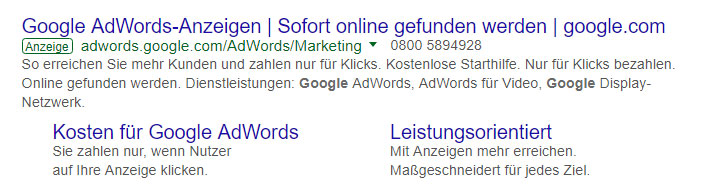 Ansicht einer Google-Anzeige