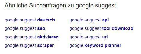 Google suggest für Evergreen Content nutzen
