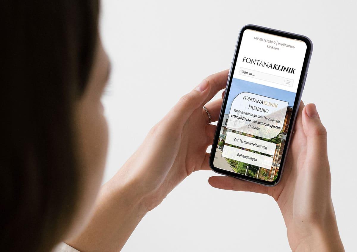 Mobile Startseite der neuen Website