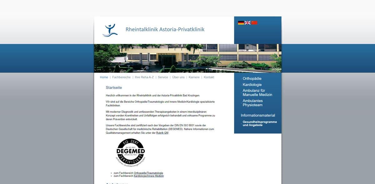 Altes Webdesign der Startseite