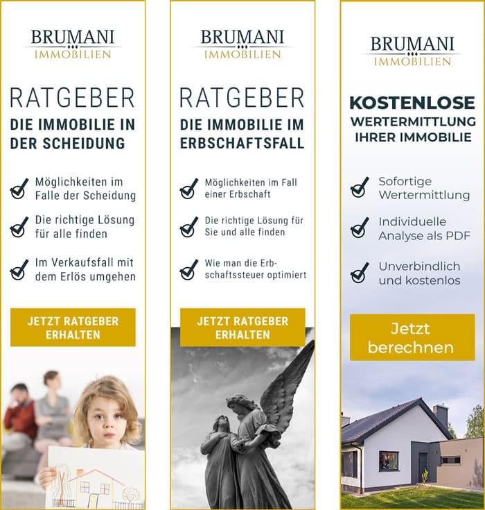 Werbanzeigen für den Immobilienmakler BRUMANI